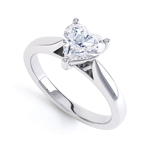 Kama heart shaped solitaire engagement ring perspective view white gold