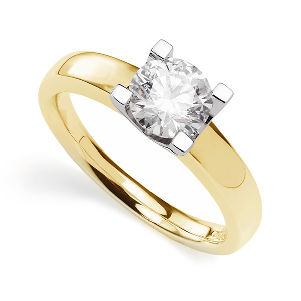 Square Pronged Round Diamond Engagement Ring In Yellow Gold