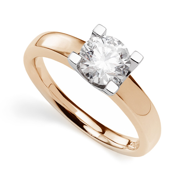 Square Pronged Round Diamond Engagement Ring Side View