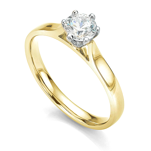 Ballerina engagement ring shown in yellow gold