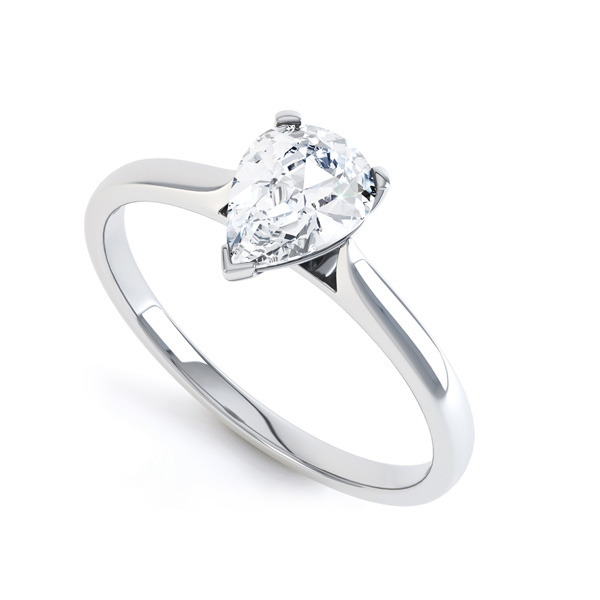 3 Claw Pear Diamond Engagment Ring