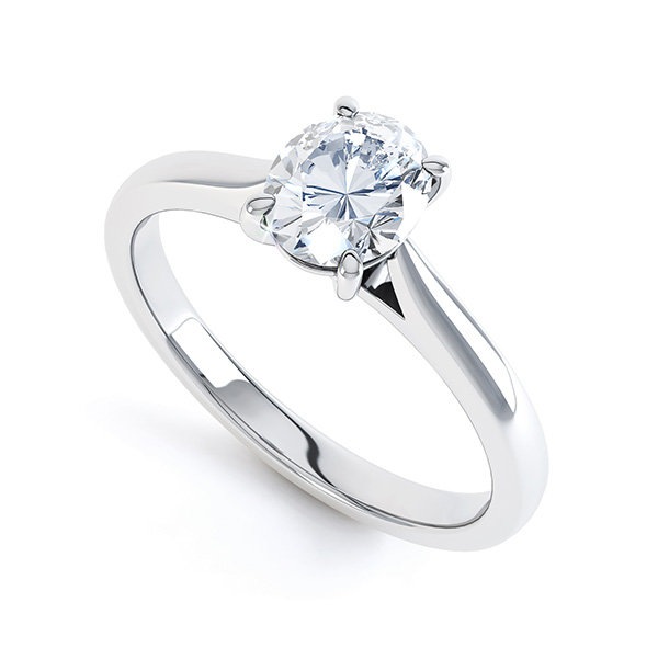 4 Claw Oval Engagement Ring - Open Shoulders