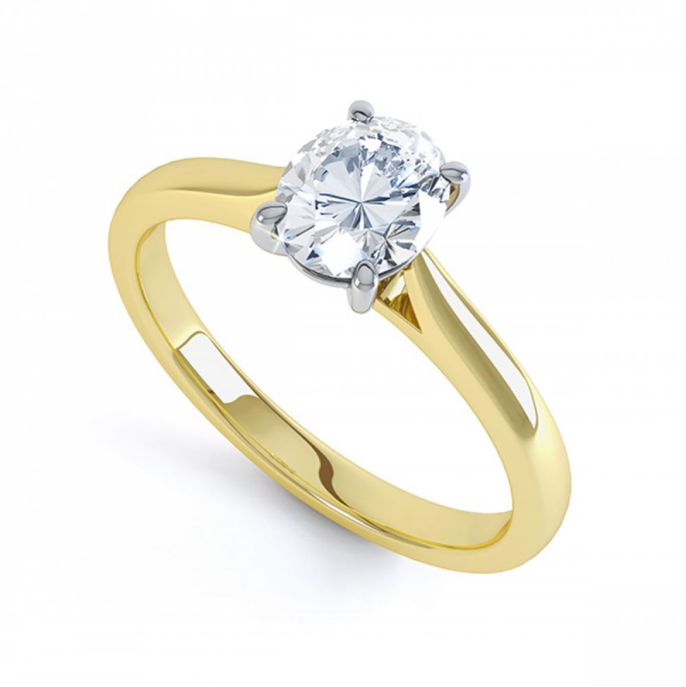 calais 4 claw oval solitaire diamond engagement ring. Black Bedroom Furniture Sets. Home Design Ideas