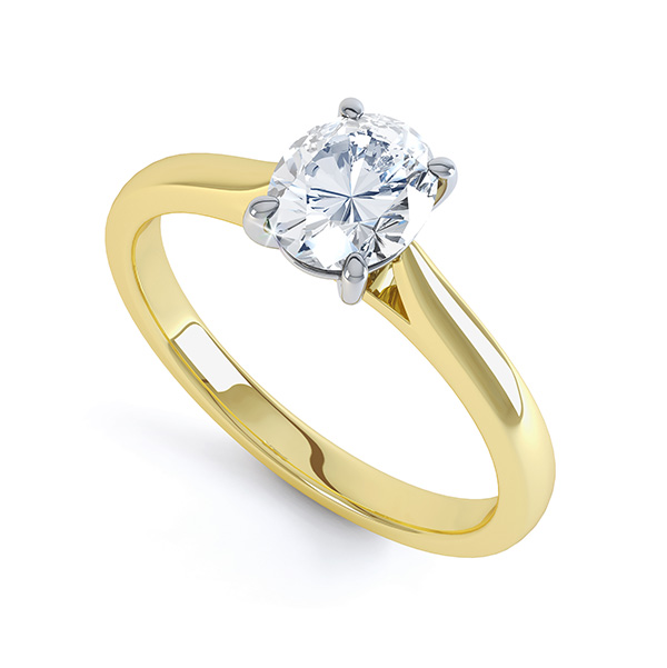4 Claw Oval Engagement Ring - Open Shoulders In Yellow Gold