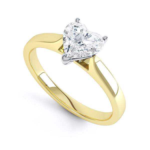 Heart Shaped Engagement Ring 3 Claw Setting In Yellow Gold