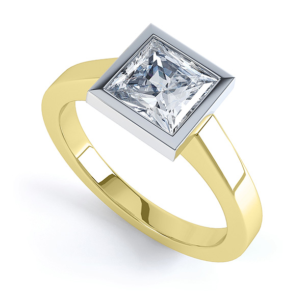 Moderne Princess cut solitaire diamond engagement ring perspective view yellow gold