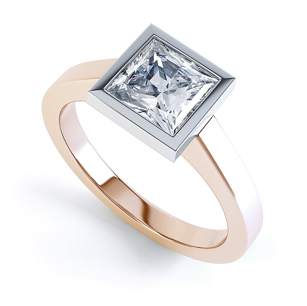 Moderne Princess cut solitaire diamond engagement ring perspective view rose gold