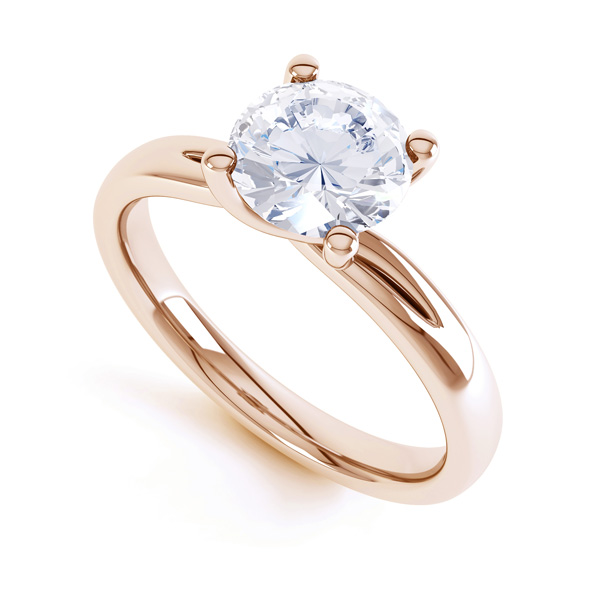 4 Claw Twist Engagement Ring with Double Shoulders In Yellow Gold