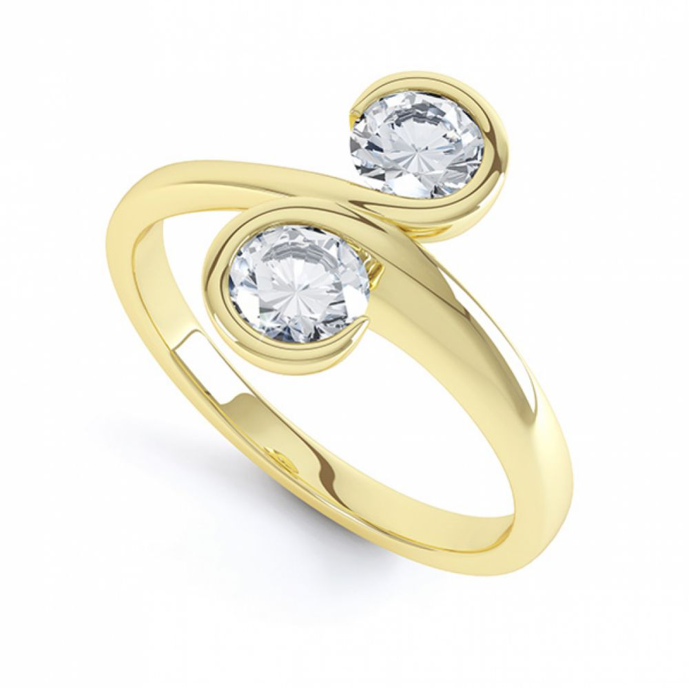 2 Stone Swirling Round Diamond Engagement Ring