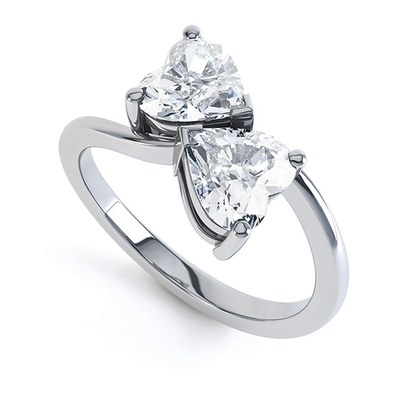 Josephine 2 stone heart shaped diamond engagement ring perspective view white gold