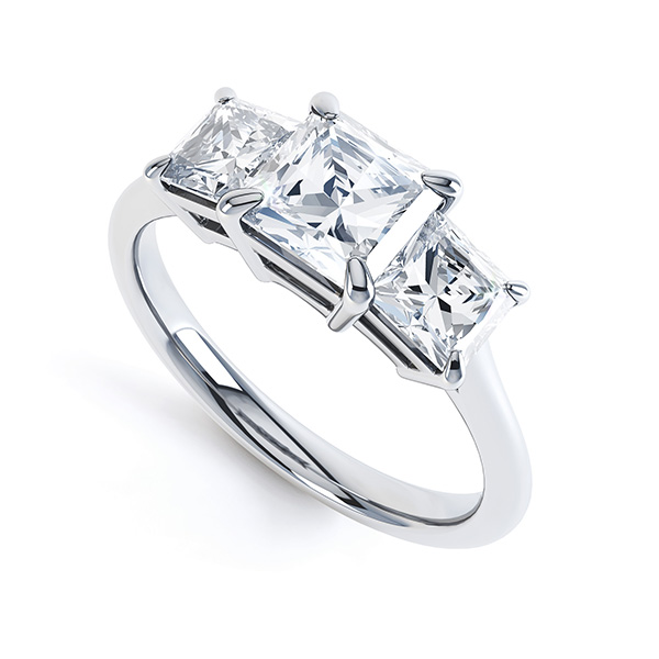 3 Stone Princess Cut Diamond Engagement Ring