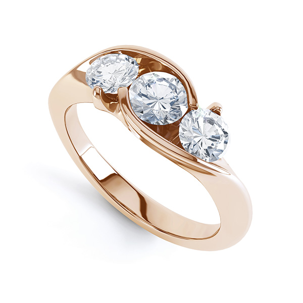 Modern Round 3 Stone Crossover Diamond Ring Perspective View in Rose Gold
