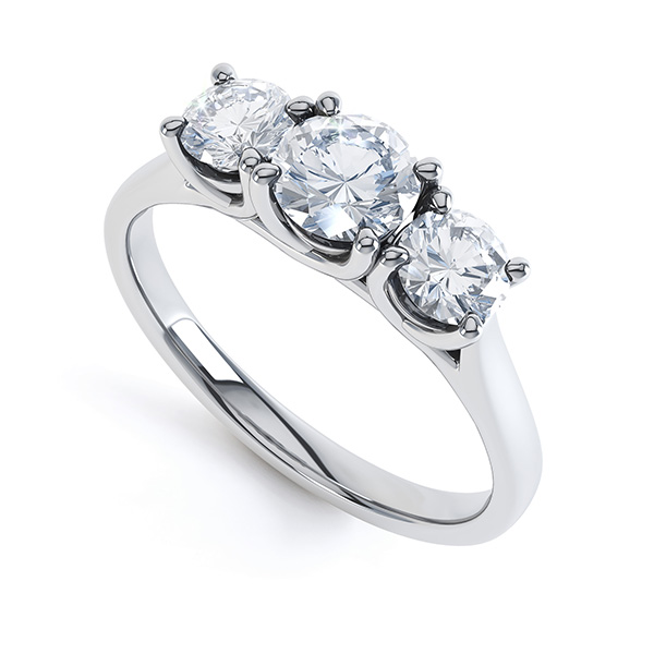 Brooklyn - Modern 3 stone diamond engagement ring perspective view white gold