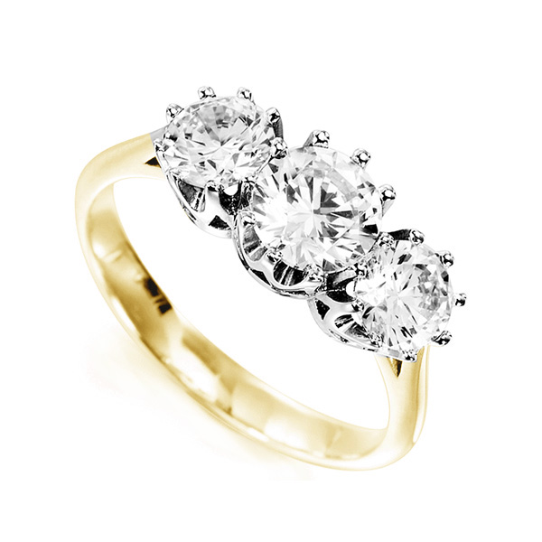 Classic 3 Stone Claw Set Diamond Ring In Yellow Gold