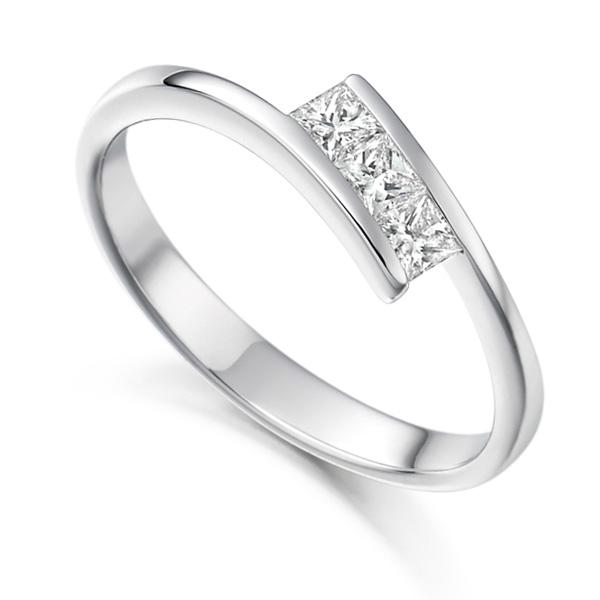 3 Stone Tension Set Princess Cut Diamond Ring