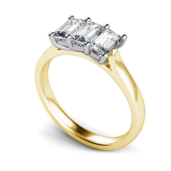 3 Stone Emerald Cut Diamond Engagement Ring In Yellow Gold