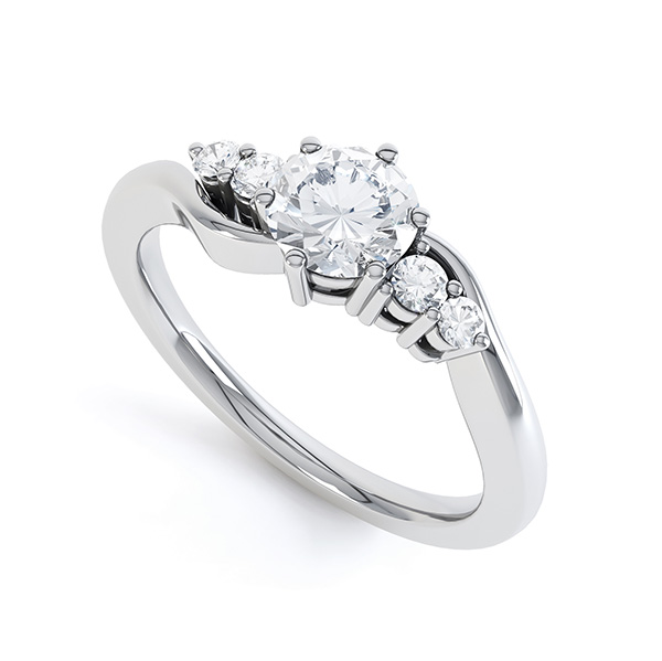 5 Stone Diamond Twist Ring