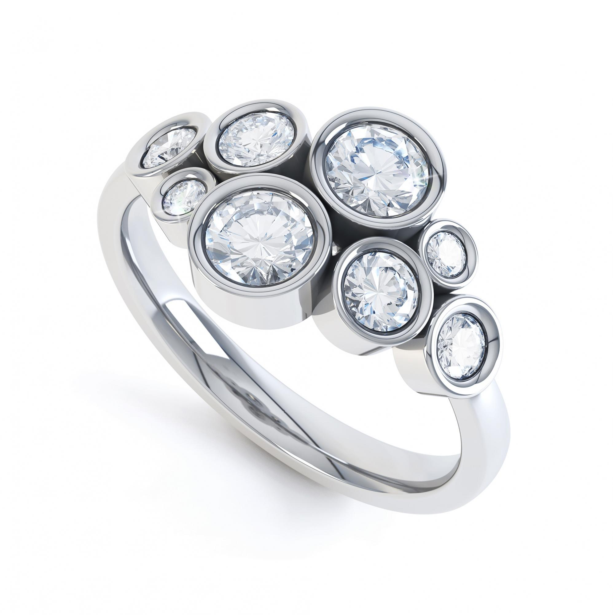 8 Stone Diamond Bubble Ring