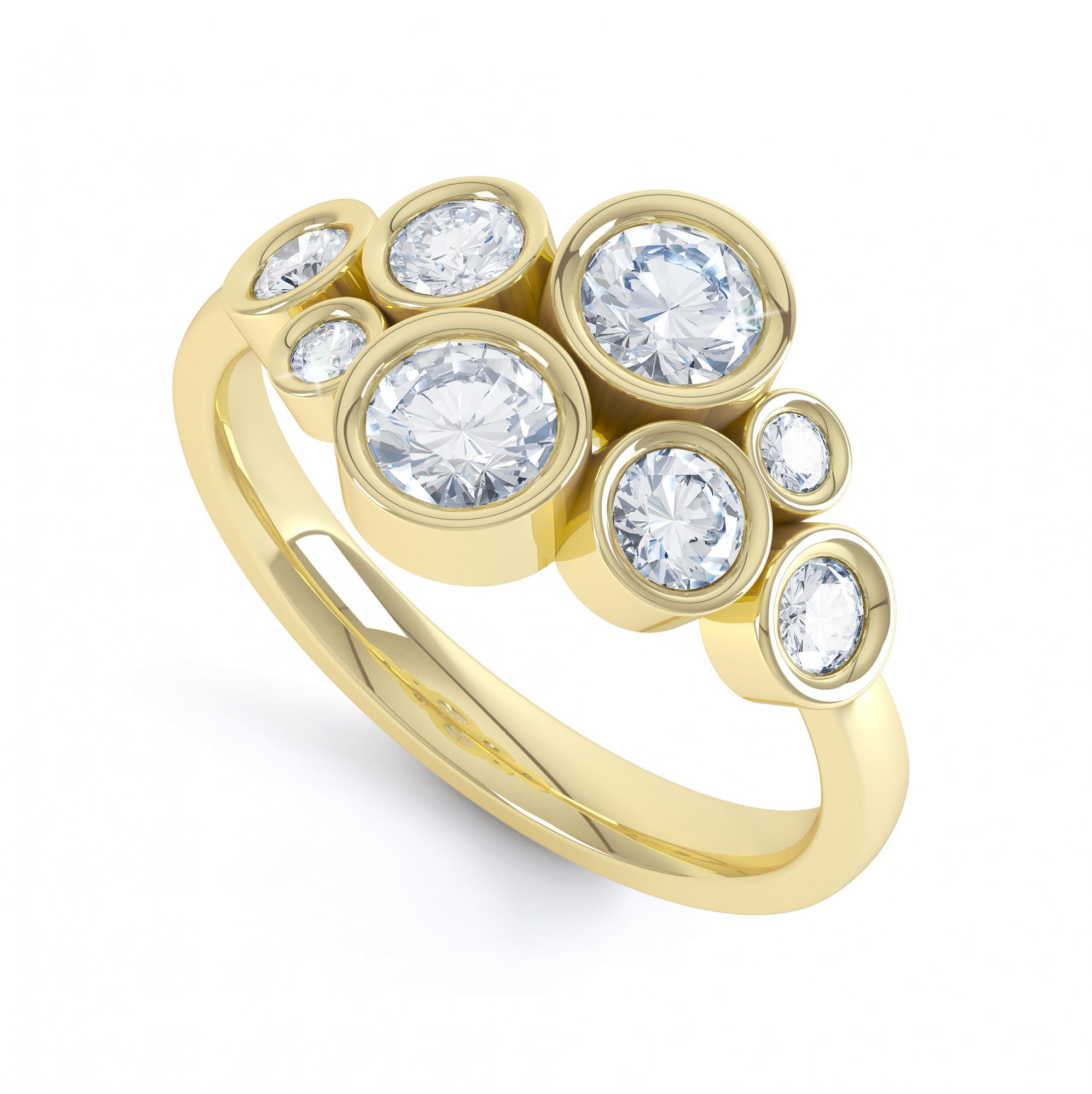 8 Stone Diamond Bubble Ring In Yellow Gold