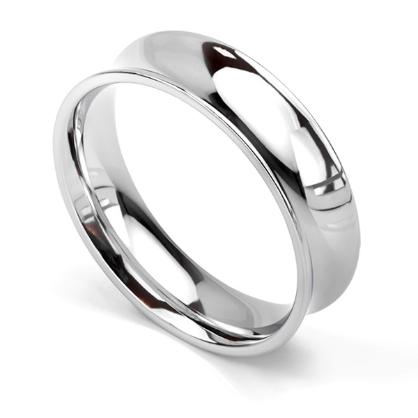 Concave wedding ring 6mm in white gold