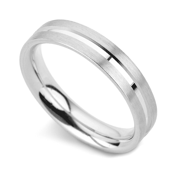 Flat Court Wedding Ring with Machined Channel