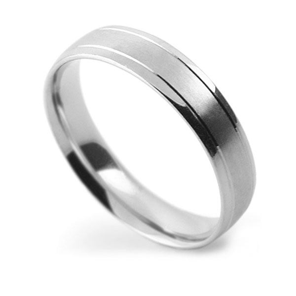 Light Court Patterned Wedding Ring with Double Line