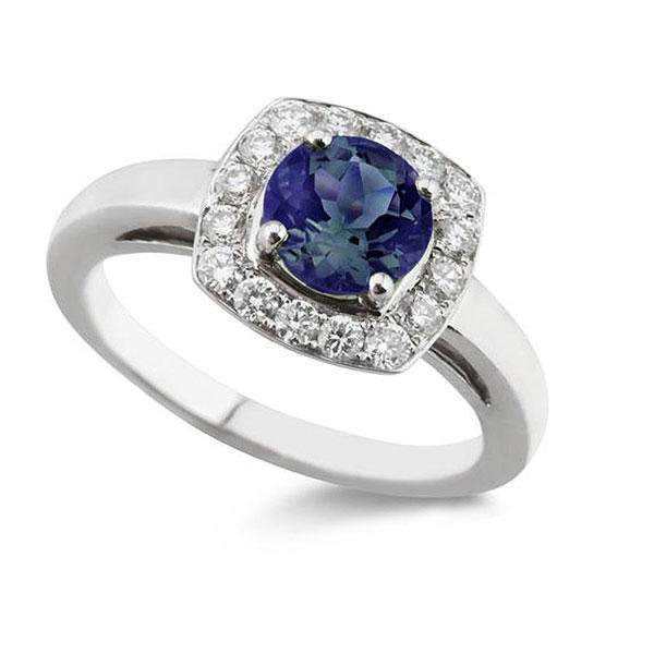 Blue Sapphire & Diamond Vintage Halo Ring