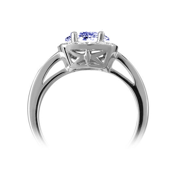 Blue Sapphire & Diamond Vintage Halo Ring Side View