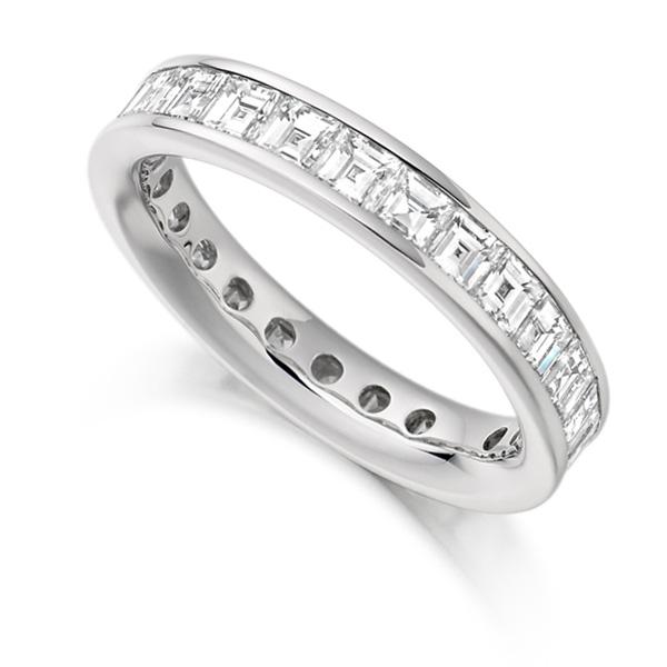 3 Carat Carré Cut Full Diamond Eternity Ring
