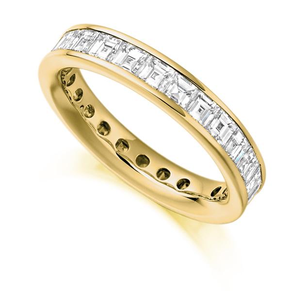 3 Carat Carré Cut Full Diamond Eternity Ring In Yellow Gold