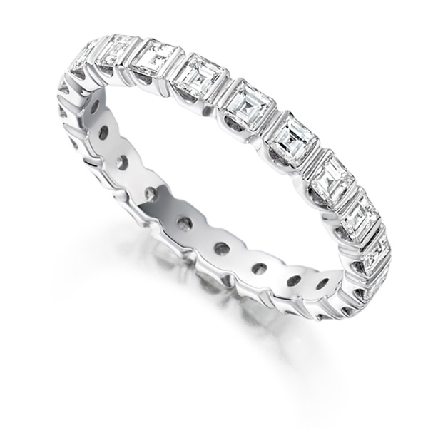 1.5 Carat Bar Set Carré Cut Full Diamond Eternity Ring