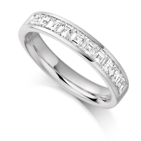 1 Carat Carré Cut Diamond Half Eternity Ring
