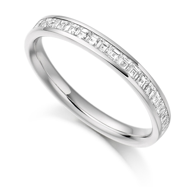 0.50cts Carré Cut Diamond Half Eternity Ring