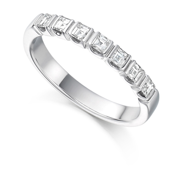 0.50cts Carre Cut Bar Set Diamond Half Eternity Ring