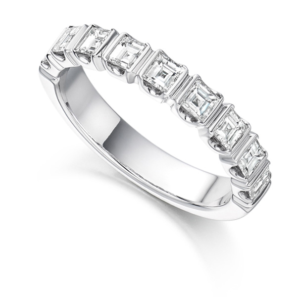 1 Carat Bar Set Square Diamond Half Eternity Ring