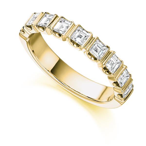 1 Carat Bar Set Square Diamond Half Eternity Ring In Yellow Gold
