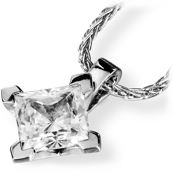 4 Square Claw Princess Diamond Pendant