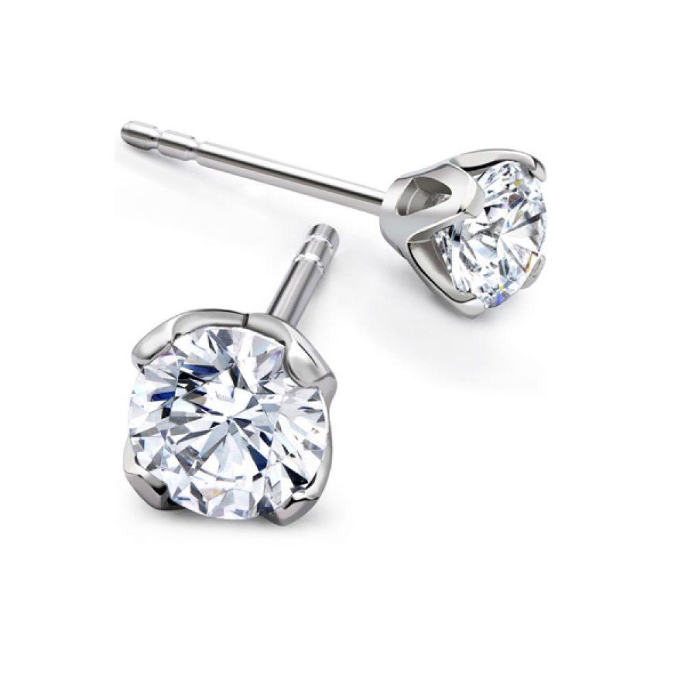 Tiffany Inspired Lotus 4 Claw Diamond Stud Earring