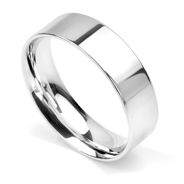 Flat court wedding ring 6mm light weight in Palladium