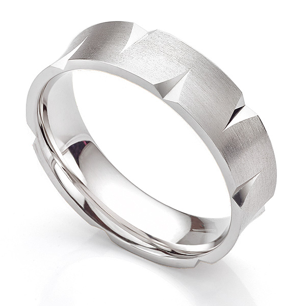 6mm Concave Angled Patterned Wedding Ring
