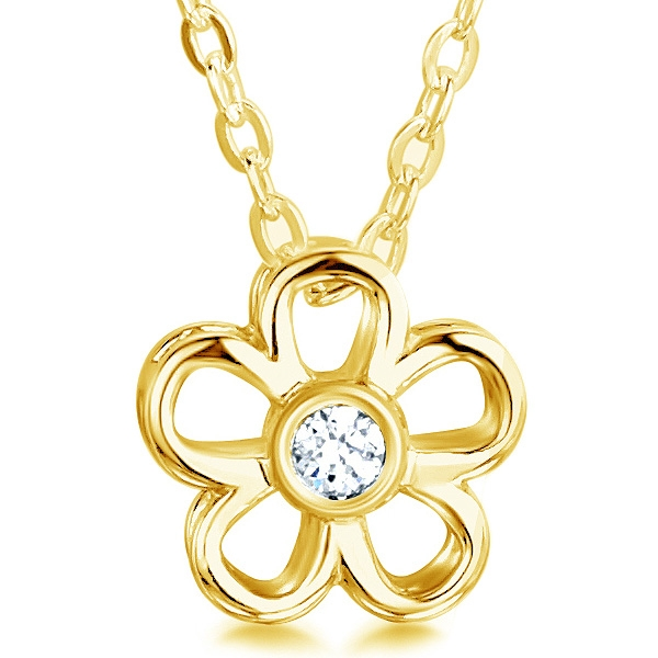0.10cts Daisy Round Diamond Flower Pendant In Yellow Gold