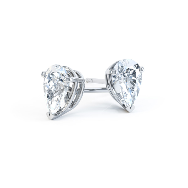 Pear Shaped Diamond Solitaire Earrings