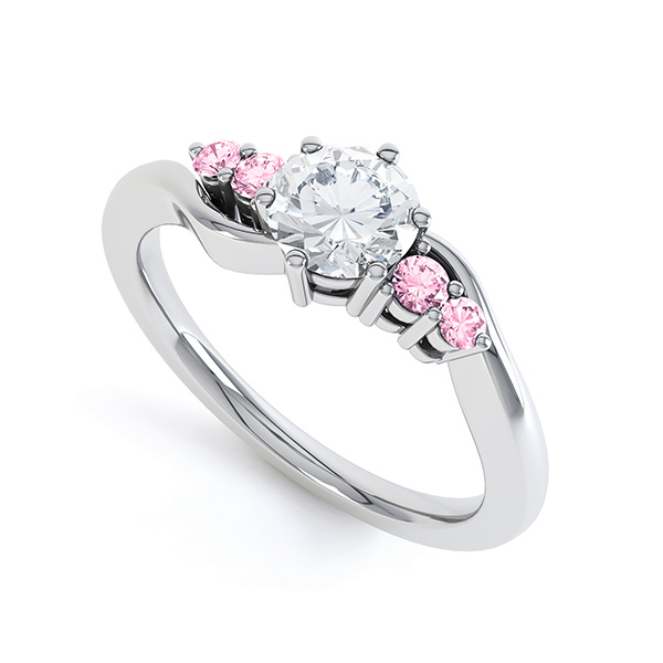 Diamond & Pink Sapphire 5 Stone Engagement Ring