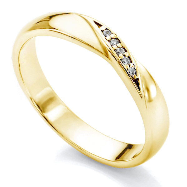 Diamond ribbon twist wedding ring in yellow gold