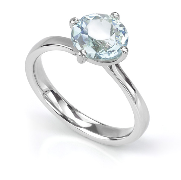 1.78ct Aquamarine in 4 Claw Twist Engagement Ring