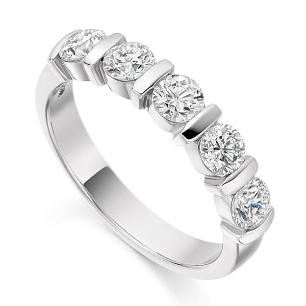 1 Carat Bar Set 5 Stone Diamond Half Eternity Ring