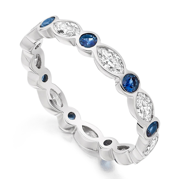 0.80ct Marquise Diamond and Round Blue Sapphire Eternity Ring