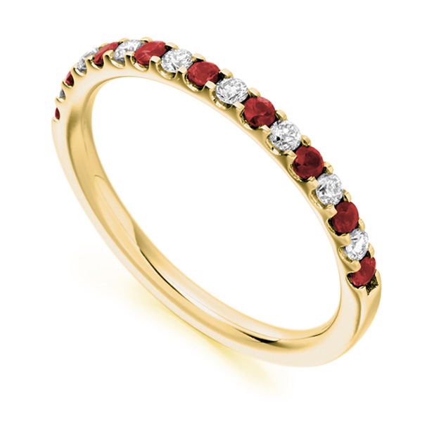 0.16cts Round Diamond & Ruby Half Eternity Ring In Yellow Gold