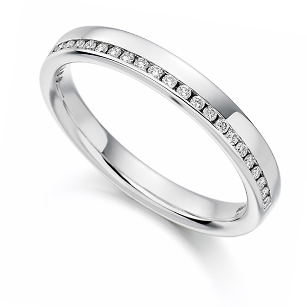 0.12cts Offset Channel Diamond Half Eternity Ring