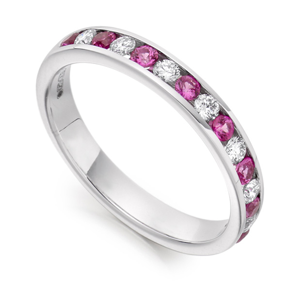 0.27cts Round Diamond & Pink Sapphire Half Eternity Ring